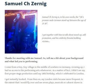 Samuel Ch Zernig interview